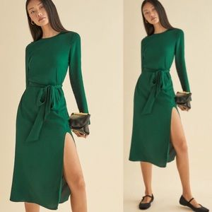 Reformation Jeana Midi Dress in Emerald Green Sz 8